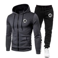 Men's Hoodies & Sweatshirts 2021 Fashion Spring Sets Gradient Zipper Hoodie+Sweatpant Casual Tracksuit Male Sportswear Gym Jogger Brand Men