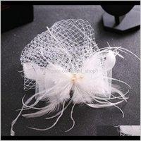 Feather Cap Lady Cocktail Dîner dîner Fedoras Mariage Bowknot Bowknot Mesh Veil Veil Vintage Sombreros Chapeau Fascinators LM059 H MYZ IYF5T
