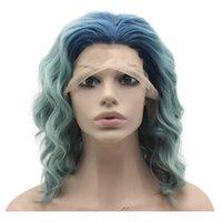 Lunghezza spalla ondulata due tono blu ombre parrucca anteriore in pizzo