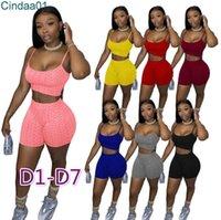 Femmes TrackSuits Deux morceaux Set Designer Slim Sexy Set Court Ensemble Tenue Yoga Vest Shorts SweatSuit de couleur Solide SweatSuit Plus Taille Tenue 4 Styles