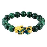 Feng Shui Green / Black Obsidian Green Wealth Golden Pixiu Bractelet Lucky Jewelry Hsj88, бисером, пряди
