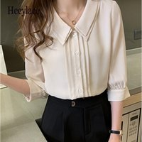 Women Shirts 2021 Summer Double-layer Three Quarter Sleeve Single-breasted Chiffon Blouses Loose Tops Women's &