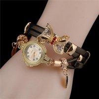 Lintimes 여자 손목 시계 모조 가죽 스트랩 복고풍 패션 Bowknot Diamante 레이디 팔찌 시계 여성 손목 시계