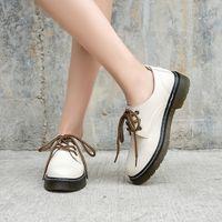 Couro Sólido Oxford Sapatos Mulher Apartamentos Grésos Bottom Plataforma Sapatos Lace Up Coração Print Sapatos Casuais para Mulheres Zapatos de Mujer