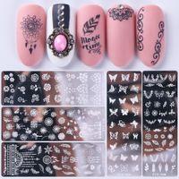 Flower Nail Stamping Templates Tierbilder Druckblätter Stempelplatten Tinte Stamper Nagellack Transfer Schablone Maniküre Werkzeuge