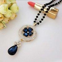 Versión coreana de pavo real Long Suéter Cadena Cristal Opal Collar de ópalo Joyería Diamante Colgante Accesorios