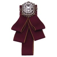 New Handmade British Style Bow Ties Men's Banquet Suit Shirt Accessories Groom's Best Man Perform Rhinestones Bowtie