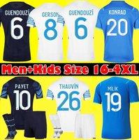Jerseys de football Guendouzi olympique de 2021 2022 om Maillot Foot Payet Thaufin Football Jersey 21 22 Gerson Konrad Milik Shirts Hommes + Kit Kit