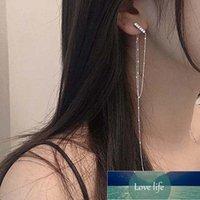 925 Ayar Gümüş Kristal Geometrik Uzun Püskül Bırak Küpe Kadınlar Için Takı Brincos Kadın Pendientes EH1076