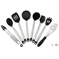8 teile / satz Silikon Kochutensilien mit Edelstahlgriff Nichtstößel Hitzebeständige Küche Gadgets Kochgeschirr Spatel Ewe5709