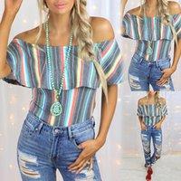 Striped Print High Quality Women's T Shirt Slash Neck Color contrast Designer Summer Beach Short Sleeve Casual Size S-2XL