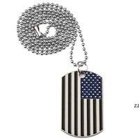 新しいアメリカの国旗ペンダントネックレスゴールドメッキステンレス鋼の軍隊タグトレンディなアメリカのシンボル男性/女性ジュエリーhwe8220