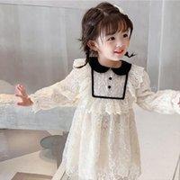 Ragazze Doll Collar Palace Plus Girl Dresses Velvet Spessa principessa Natale Autunno Inverno Vestiti caldi Abbigliamento per bambini caldi