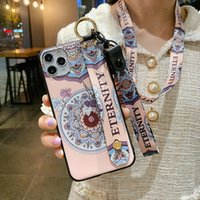 For iphone 11 12 13 Pro XR X Xs Max 6 6s 7 8 plus SE Phone Holder Case Soft TPU Neck Wrist Strap Lanyard Case Flower Cover