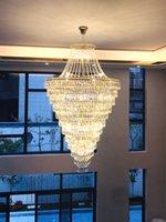 Villas Duplex modernes Luxe Crystal clair Crystal LED Big Lustre Pendentif Lampes Lumières pour le hall de l'hôtel Salon Spiral Staircase Appartement Lustres décoratifs