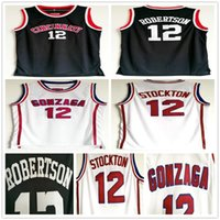 NCAA Gonzaga Bulldogs كلية John 12 Stockton White كرة السلة جيرسي سينسيناتي Bearcats أوسكار 12 روبرتسون خمر أسود مخيط الفانيلة