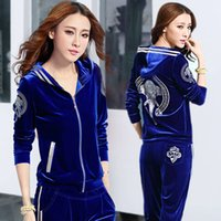 Spring and Autumn Leisure Sports Women 2021 New Hooded Fashion Gold Velvet Sportswear Two-piece Suit
