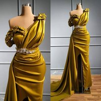 2022 Sexy Gold Evening Dresses One Shoulder Occasion Prom Dress Sweep Train Stain Formal Party Wear Gowns