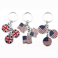 Flag Keychain Various shapes British Style Pendant Favor Car United Kingdom American Foreign Affairs Gift Flags Key Chain DHA5469
