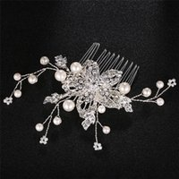 Hair Clips & Barrettes OKILY 2021 Simple Alloy Silver Color Pearl Combs For Women Crystal Flower Bridesmaid Bride Head Wedding Accessories