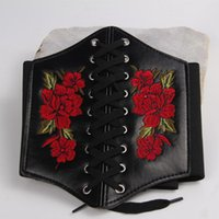 Belts Elastic Waist Embroidered Flower Belt Women Wide Lace Up Waistband Corset PU Leather Slim Shaped Tied