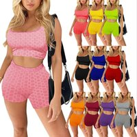 2021 الصيف المرأة رياضية قطعتين مجموعة مصمم ضئيلة مثير قصيرة مجموعة ملابس اليوغا سترة السراويل بلون sweatsuit زائد الحجم Y995
