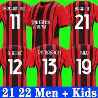 Vista fãs Versão AC Milan 21 22 Jersey de futebol Ibrahimovic Paqueta Bennacer Tonali Romagnoli Jersey 2021 2022 Calhanoglu Camisa de Futebol Rebic Homens