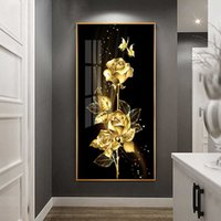 Black Golden Rose Flower Butterfly Abstract Poster Nordic Art Plant Canvas Painting Modern Wall Picture for Living Room Decor 210705