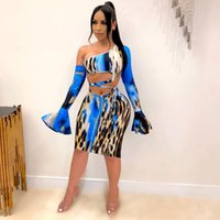 Rstylische frauen zwei stück kleid anzüge sexy slim drucken backig sleeve midi nightclub party space-up bodycon rock setzt Frauen Trainingsanzüge