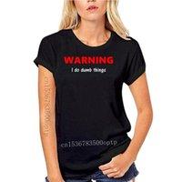 여성용 티셔츠 여성 Tshirts 벙어리 경고 나는 일을 할 수 있습니다. T 셔츠 남자 인쇄 짧은 소매 빈티지 미친 캐주얼 스프링 보통 탑스