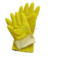 Rubber Yellow Household Latex Gloves   Cleaning with Good Quality