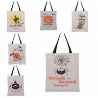 هالوين أكياس هدية كبيرة القطن قماش حقائب اليد 6 أنماط اليقطين الشيطان العنكبوت المطبوعة هالوين الحلوى هدية كيس أكياس
