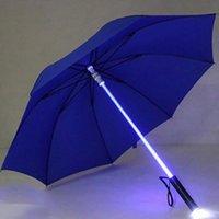 Paraguas LED LED SABER SABER UP PARÁSPIRA LASER ESPADA GOLF Cambiando en el eje / construido en la antorcha Flash 2021