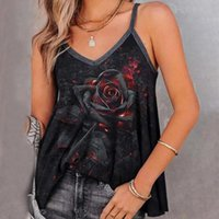 Women's Tanks & Camis Vintage Rose Women Tops Sleeveless Leisure Time Comfortable Vest Sumemr Flower Printing Small Sling Top Femme Y2K