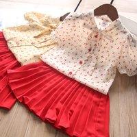 Chicas Cherry Bow Pie Thirt + Trajes de falda plisada verano 2021 niños ropa boutique coreano 2-7T niñas mangas cortas 2 PC conjunto