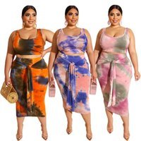 Two Piece Dress Plus Size Women Set Crop Top Bodycon Lace Up Skirts 2 Sets Sexy Summer Suit Beach Boho Holiday Outfits