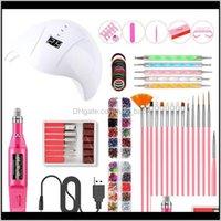 Smart 36W Uv Led Lamp Tools Drill Machine 15Pcs Brush Manicure Sets Usb Polisher Pen Jewelry Zhsny Art Kits Owq9G