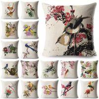 Flor de vintage pájaro de algodón lino cojín cojín tiro almohada caja sofá sala de estar asiento decoración del hogar