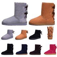 boots 2020 المرأة أحذية للفتيات البسيطة القصيرة أستراليا كلاسيكي الركبة طويل القامة الثلوج في فصل الشتاء أحذية بيلي القوس الكاحل ربطة أسود رمادي حجم الكستناء 5-10