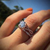 클러스터 반지 14K 로즈 골드 링 다이아몬드 여성용 Bizuteria Backue Etoile Anillos de Amethyst Diamante RINS 쥬얼리 보석 Diamantes