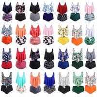 Mujeres fruncidos de cintura alta Bikini 2019 más tamaño traje de baño verano traje de baño flamencos playa baño traje volante bikini mujer 932 z2