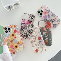 IMD Shell Grain Floral Tpu Mobile Phone Cases Shockproof Water Resistant Dirt-resistant Half Wrapped Printing Gloss Finish Flower Case for iPhone 13 12 11 Pro Max