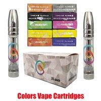 Renkler Vape Kartuşları Pod 0.8ml Atomizer 510 Konu Tankı Kalın Yağ Tam Seramik Kalem Paketleme Çıkartmalar Ile Boş E-Sigara Arabaları