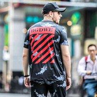 봄과 여름 새로운 패션 브랜드 티셔츠 남자 상어 인쇄 지방 짧은 소매 뚱뚱한 큰 티셔츠