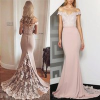 Bridesmaid Dresses 2017 New Cheap Off Shoulder Long Peach For Weddings Lace Appliques Mermaid Plus Size Formal Maid of Honor Gowns Unde Aofx