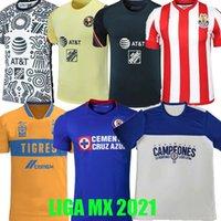 21 22 Chivas Fussball Jersey Cruz Azul Champions Club America Giovani 2021 Tigres Uanl Liga MX Guadalajara 115 Jahre Fußballhemd A.Vega Macias Langarm Leon Uniform