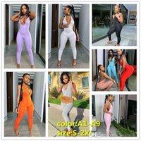 Women Jumpsuits Summer Designer Fashion Ladies Neck Hanging Sexy Cross Deep V-neck Hip Lifting Sports Onesies Solid Color Slim C06