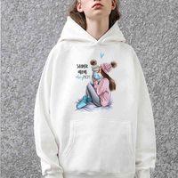 Women's Hoodies & Sweatshirts Manga longa super mãe feminino oversized moletom com capuz amor impressão harajuku femme hoody powerpuff meninas casal topos GEET