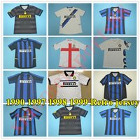 1990 1997 1998 1998 Inter vinatge Milão Retro Soccer Jersey 9 Ronaldo 22 Milito 10 Sneijder Baggio Zanetti Vieri Camisa de Futebol Kits