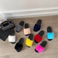 Sonbahar Kadın Terlik Vizon Ayakkabı Yumuşak Kürk Kadın Tasarımcı Için Dışında Şeker Renkleri